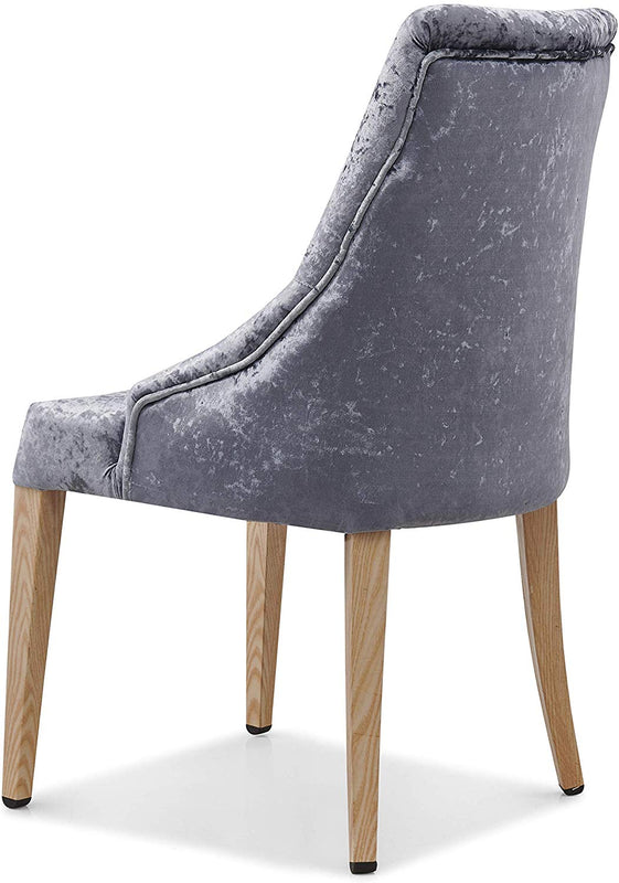 Burnaby Set of 2 Crushed Velvet Dining Chairs with Buttoned Back in Grey 5