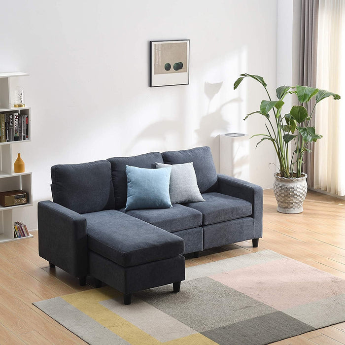 Campbell 3 Seater Sofa with Reversible Chaise in Dark Grey 3