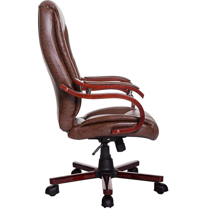 luxury wooden frame extra padded desk computer office chair in light brown