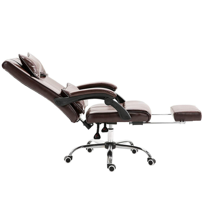 Premium Executive Reclining Desk Chair with Footrest, Headrest and Lumbar Cushion Support (Brown PU)