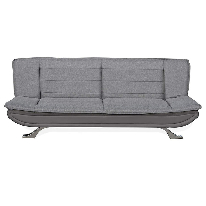 alison tufted 3 seater sofa bed with chrome feet charcoal grey
