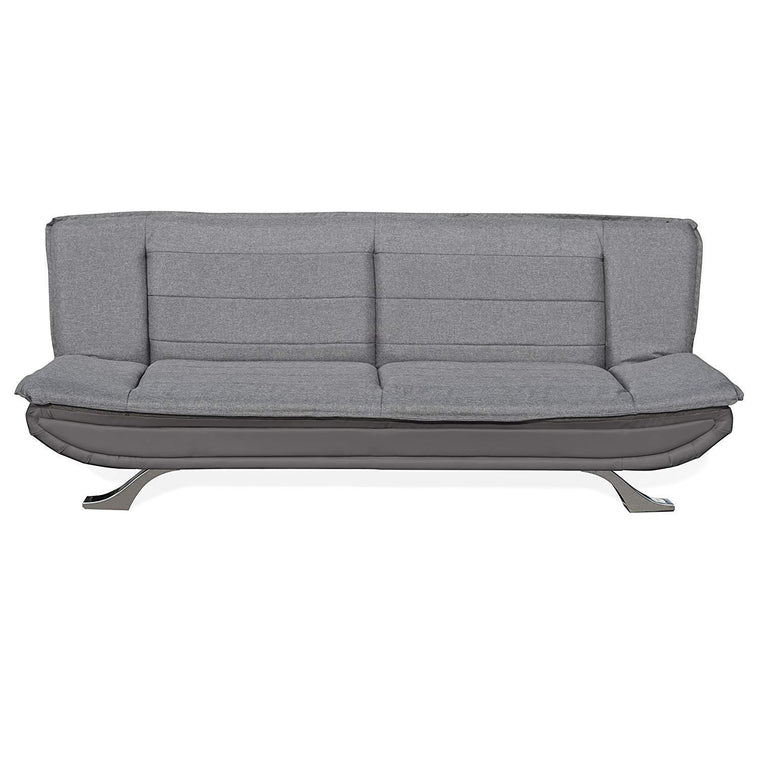 ALISON Tufted 3-Seater Sofa Bed with Chrome Feet, Charcoal & Grey