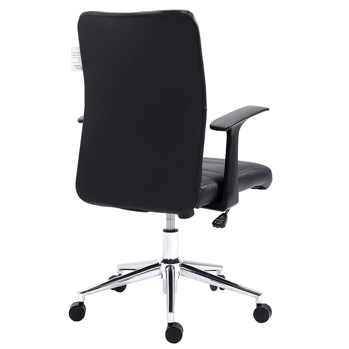 PU Leather Padded Medium Back Swivel Office Chair with Chrome Base, Black