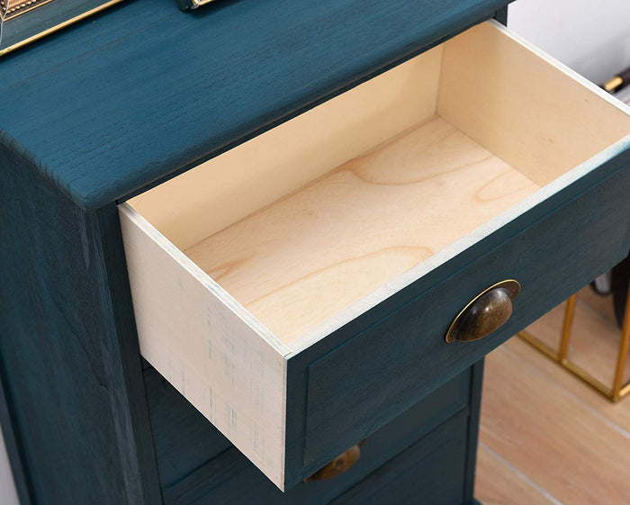 CAMROSE Wooden Chest of Drawers/Bedside Table with Metal Cup Pull Handles Blue 3 Drawer 5