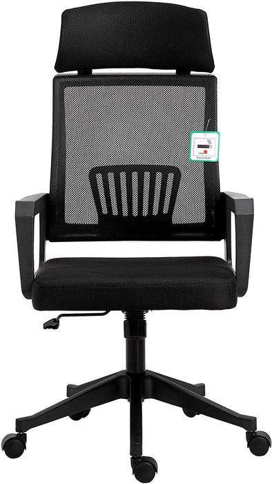 Beni Mesh Fabric Swivel Office Chair with Headrest Black 2