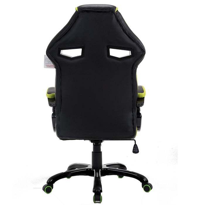 ctf racing style gaming pu leather swivel desk chair with fabric trim green