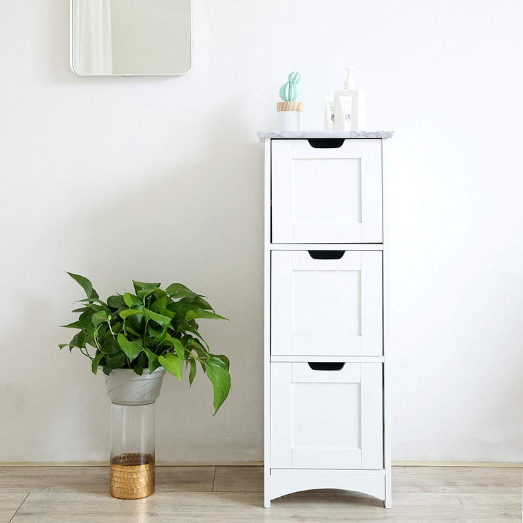 Free Standing Wooden 3-Drawer Bathroom Cabinet Storage Cupboard Unit, BAT-03 White