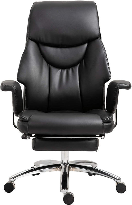 Abraham Wingback Style Office Chair with Footrest in Black PU Leather 2