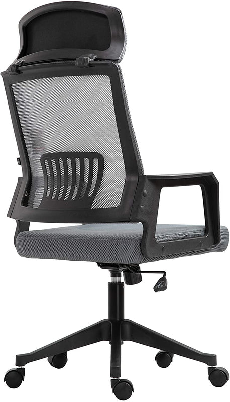 Beni Mesh Fabric Swivel Office Chair with Headrest Grey 4