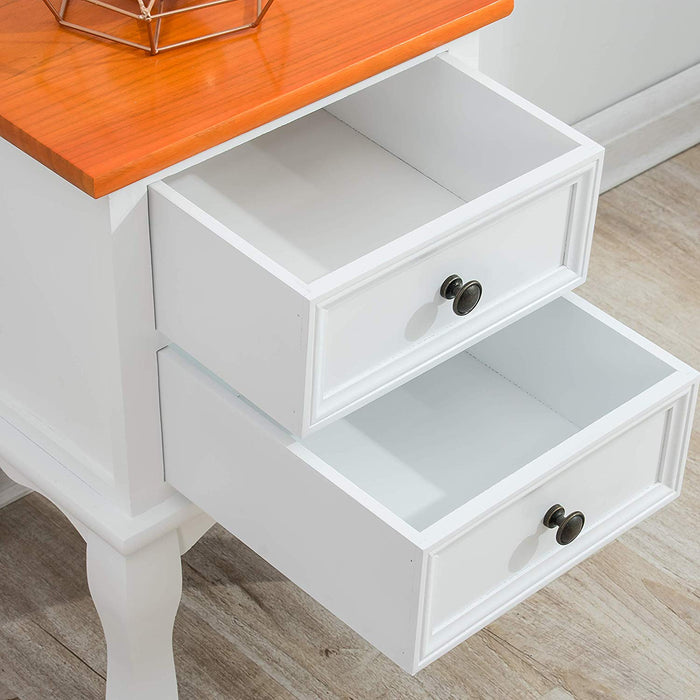 Wood Bedside Table 2-Drawer Cabinet, Two-Toned Finish