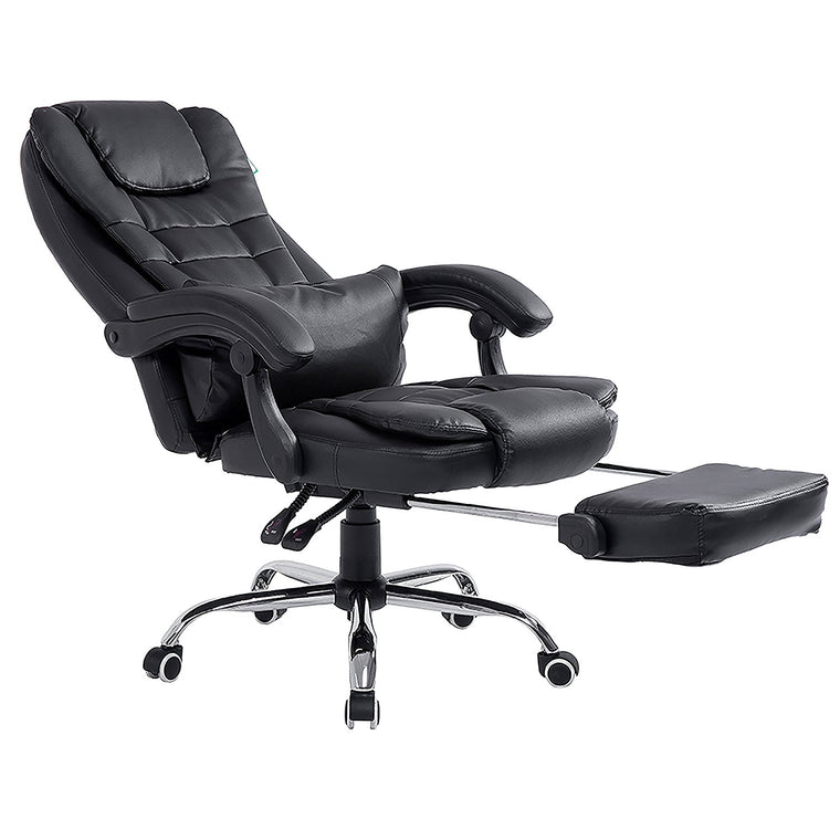 Luxury Extra Padded High Back Recline Faux Leather Relaxing Executive Chair With Footrest, Black