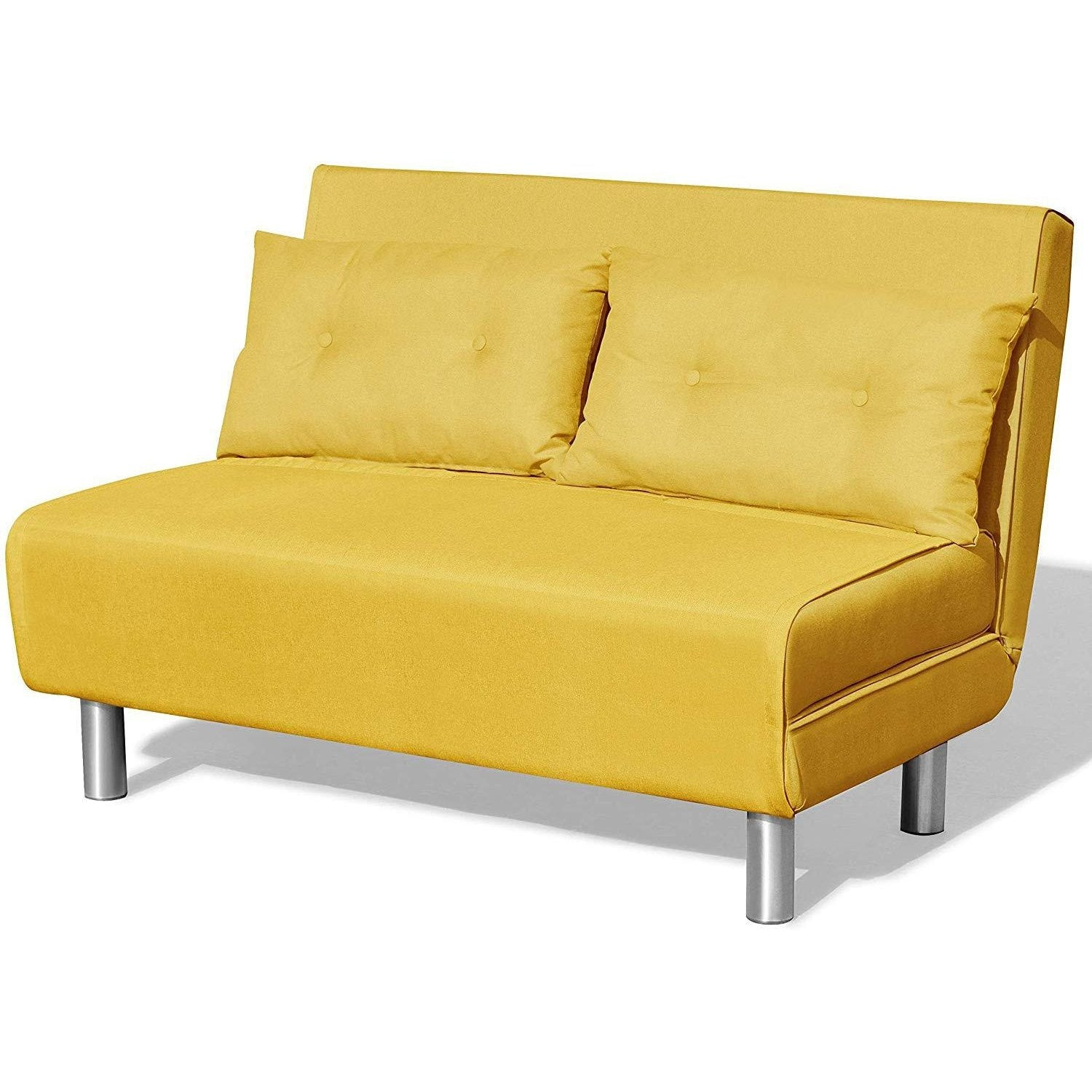 ALGO 2-Seater Small Double Folding Sofa Bed with Cushion Bright Yellow Fabric