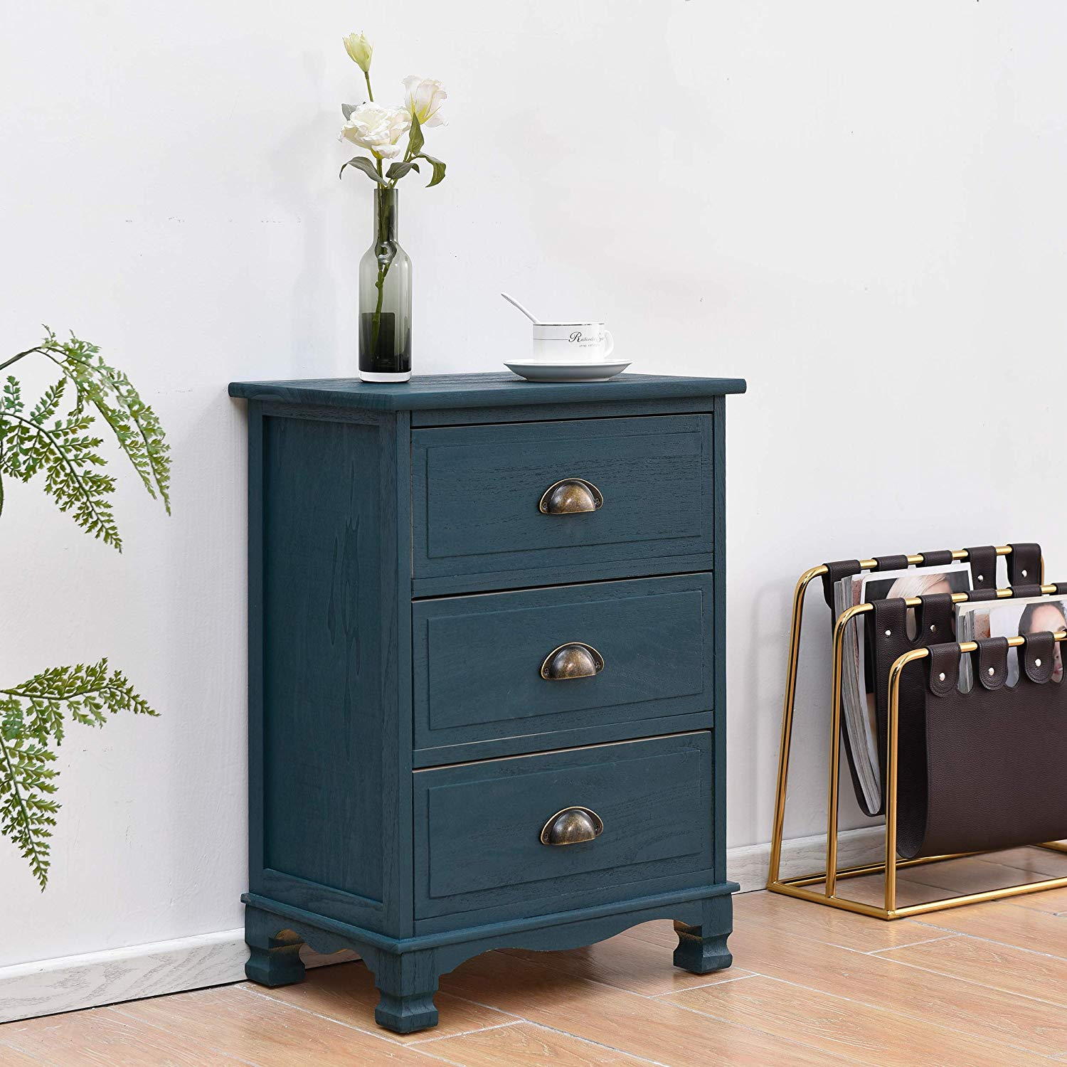 CAMROSE Wooden Chest of Drawers/Bedside Table with Metal Cup Pull Handles Blue 3 Drawer 1