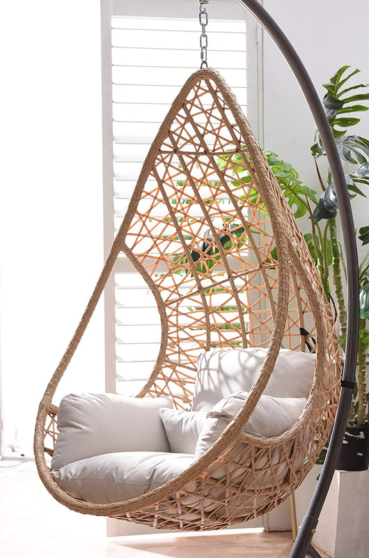 Indra Rattan Effect Patio Hanging Egg Chair 6