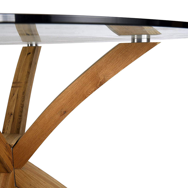 LUGANO Round Glass Top Solid Oak Legs Dining Table 6