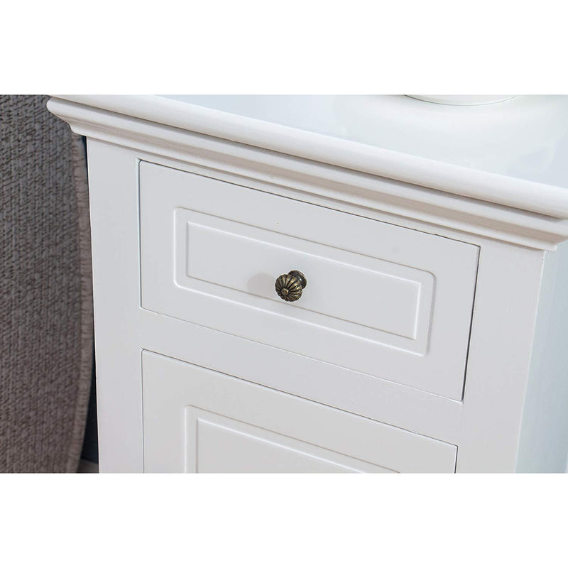 Wood White 1-Door 1-Drawer Bedside Table Nightstand Cabinet