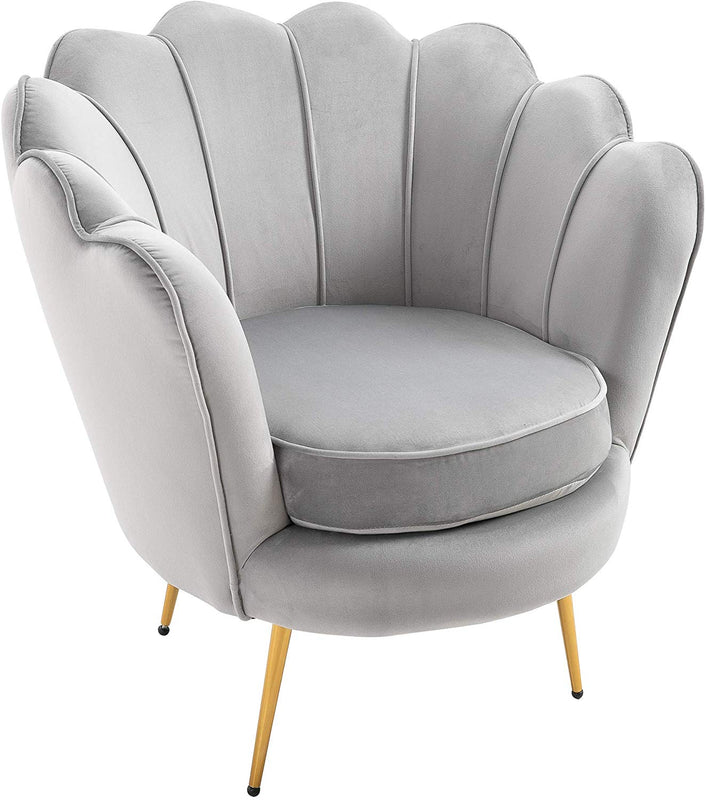HEPBURN Scalloped Velvet Armchair Tub Chair Grey 2
