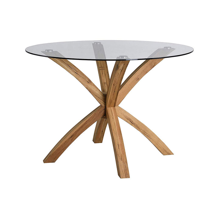 LUGANO Round Glass Top Solid Oak Legs Dining Table 4