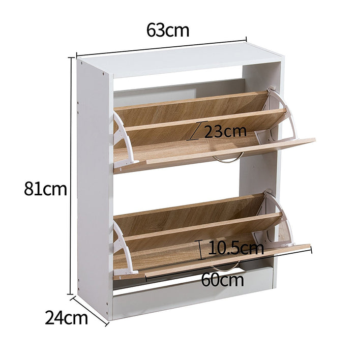 2 drawer wooden shoe cabinet shoe storage unit oak white