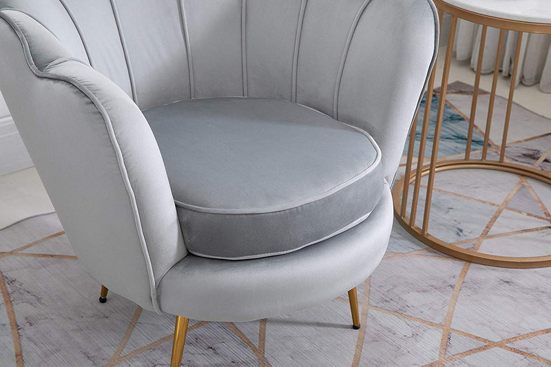 HEPBURN Scalloped Velvet Armchair Tub Chair Grey 7