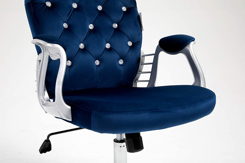 Velvet Diamante Buttoned Swivel Chair with Chrome Feet Blue 7