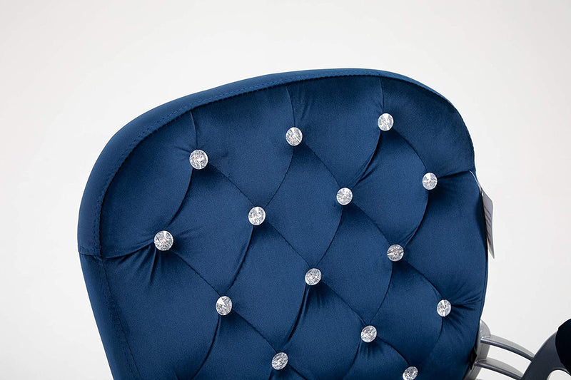 Velvet Diamante Buttoned Swivel Chair with Chrome Feet Blue 6