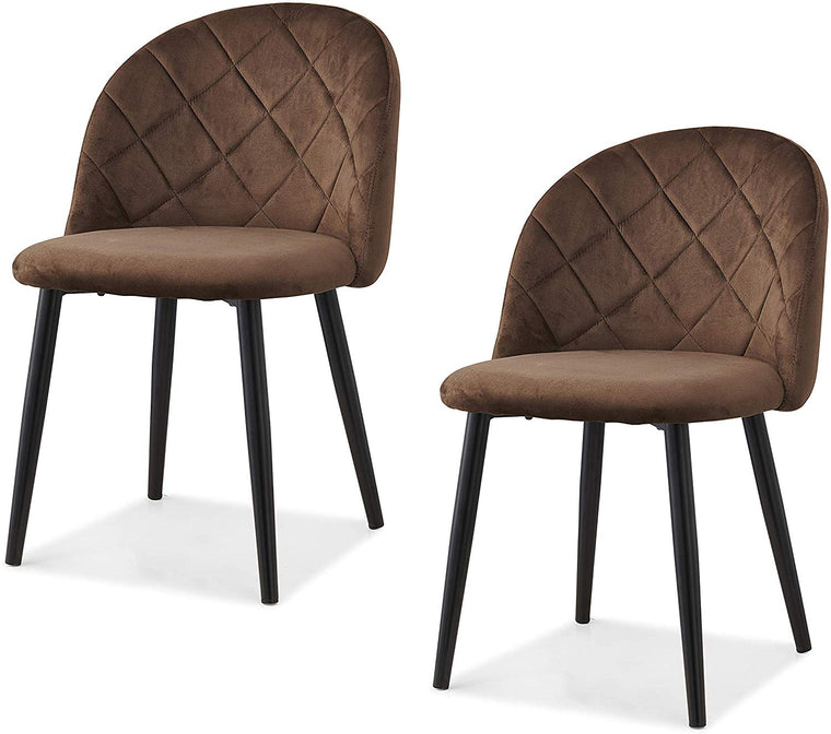 Set of 2 Edmonton Velvet Dining Chairs with Quilted Backrest in Brown