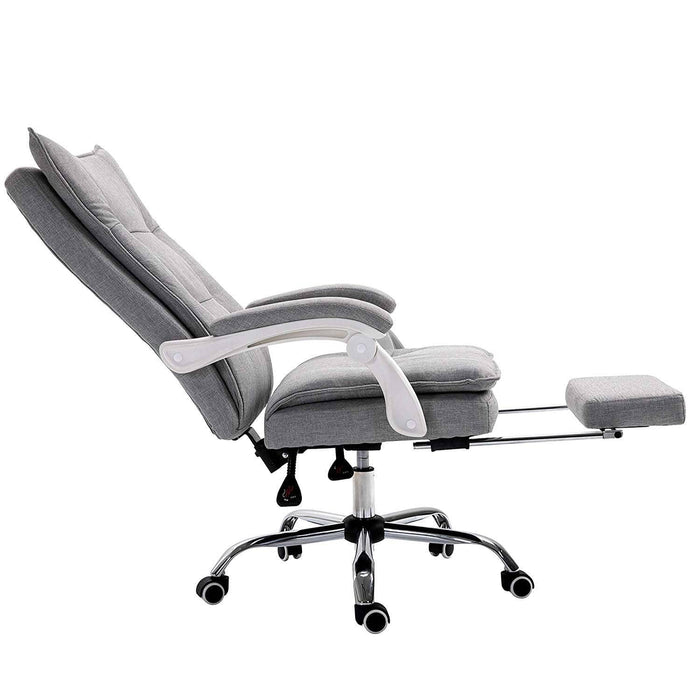 Executive Double Layer Padding Recline Desk Chair Office Chair with Footrest, Grey Fabric