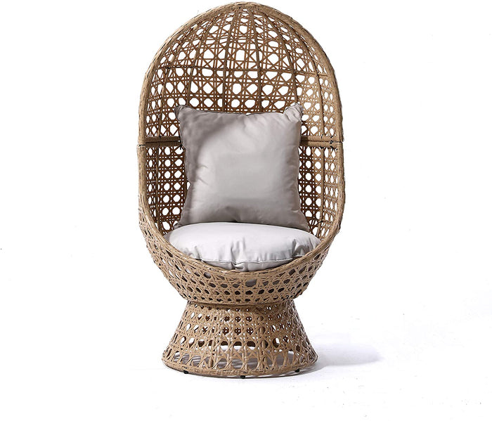 Nerida Natural Rattan Effect Cocoon Swivel Garden Egg Chair 2