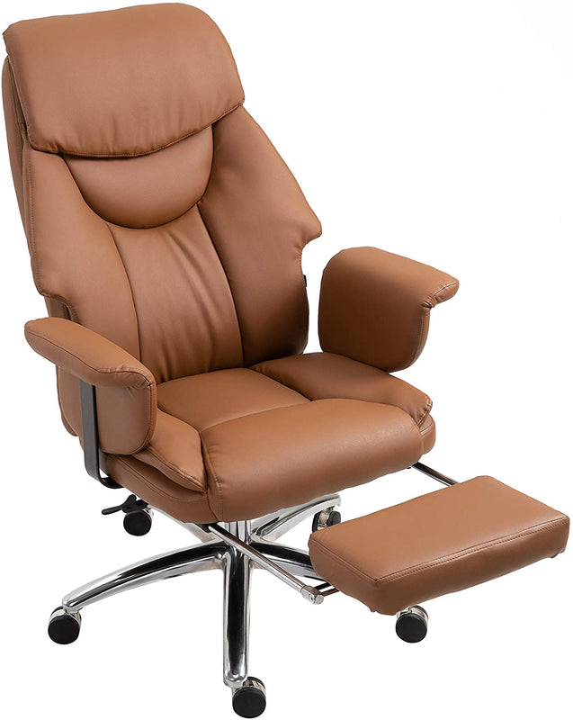 Abraham Wingback Style Office Chair with Footrest in Brown PU Leather 3