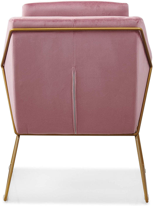 HEDY Velvet Accent Chair Armchair with Sculptural Metal Frame in Pink Velvet 7