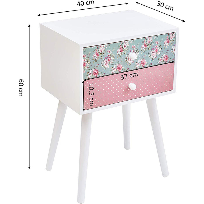 Cherry Tree Furniture CANTERBURY Wooden 2-Drawer Bedside Table Nightstand, Rose & Polka Dot Pattern