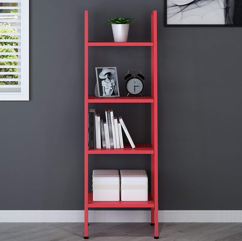huba 4 tier shelving unit display stand red