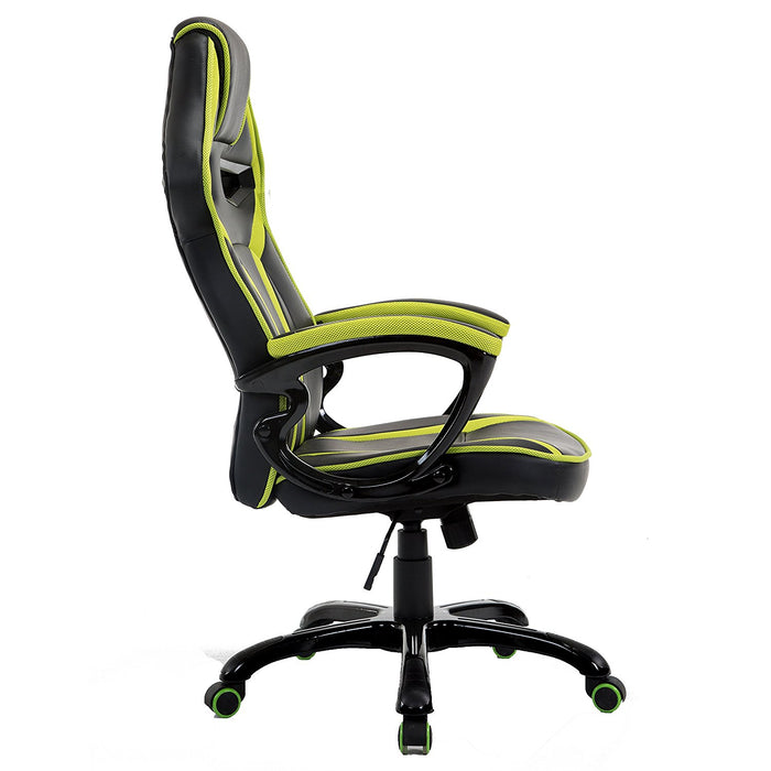CTF Racing Style Gaming PU Leather Swivel Desk Chair with Fabric Trim, Green