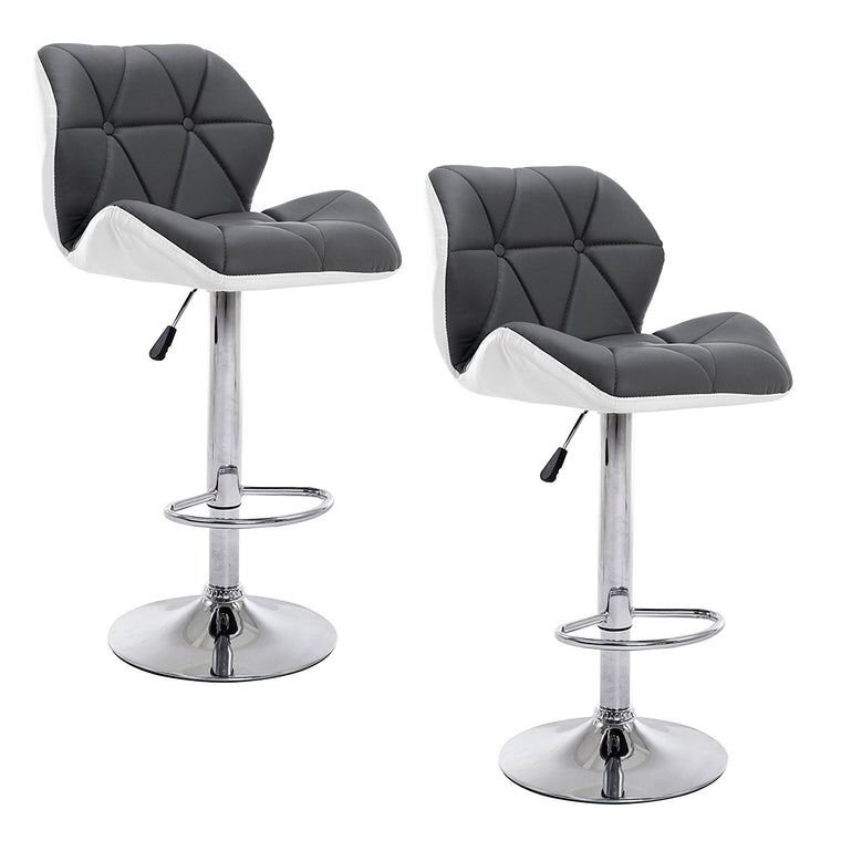 Faux Leather Chrome Base Height Adjustable Swivel Barstool Kitchen Stool in Pair, Grey & White
