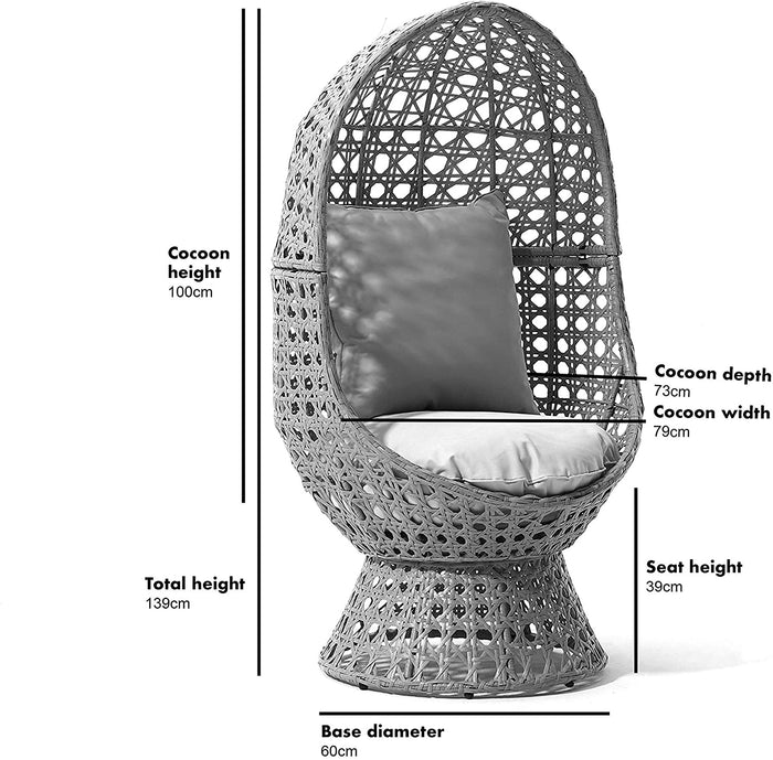 Nerida Natural Rattan Effect Cocoon Swivel Garden Egg Chair 3