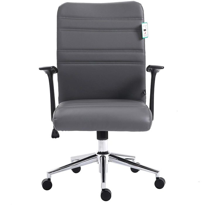 pu leather padded medium back swivel office chair with chrome base grey