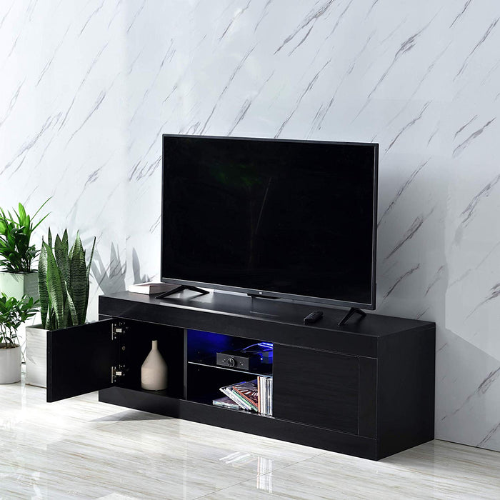 "Cherry Tree Furniture MELDAL LED High Gloss TV Stand, TV Unit Cabinet for TV Size up to 50"" Black, 125 cm"