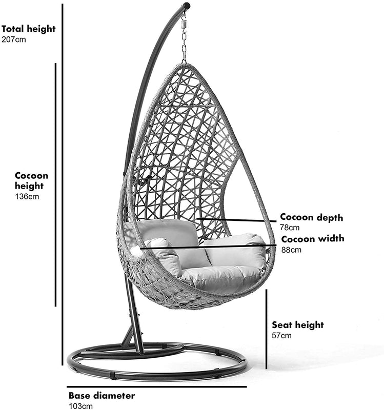 Indra Rattan Effect Patio Hanging Egg Chair 5
