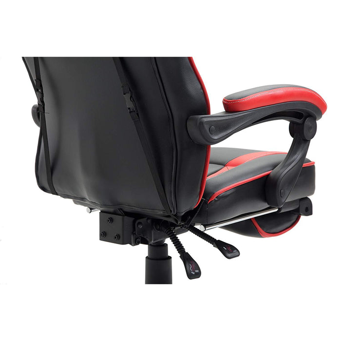 high back recliner gaming swivel chair with footrest adjustable lumbar head cushion black red