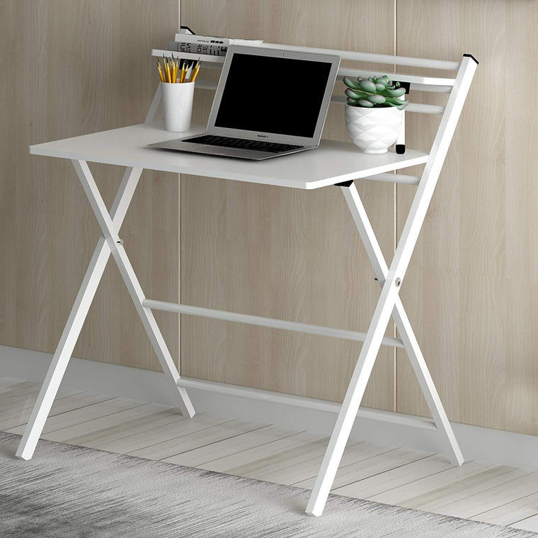 White Folding Desk with Steel Frame