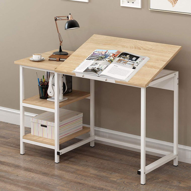 Computer Desk / Drafting Table with Shelves, Natural
