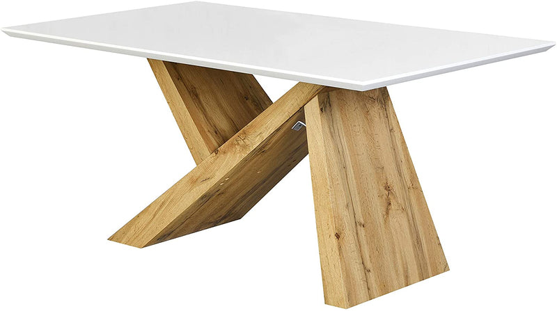 Orillia Oak Effect 160 cm Dining Table  with White Top 3