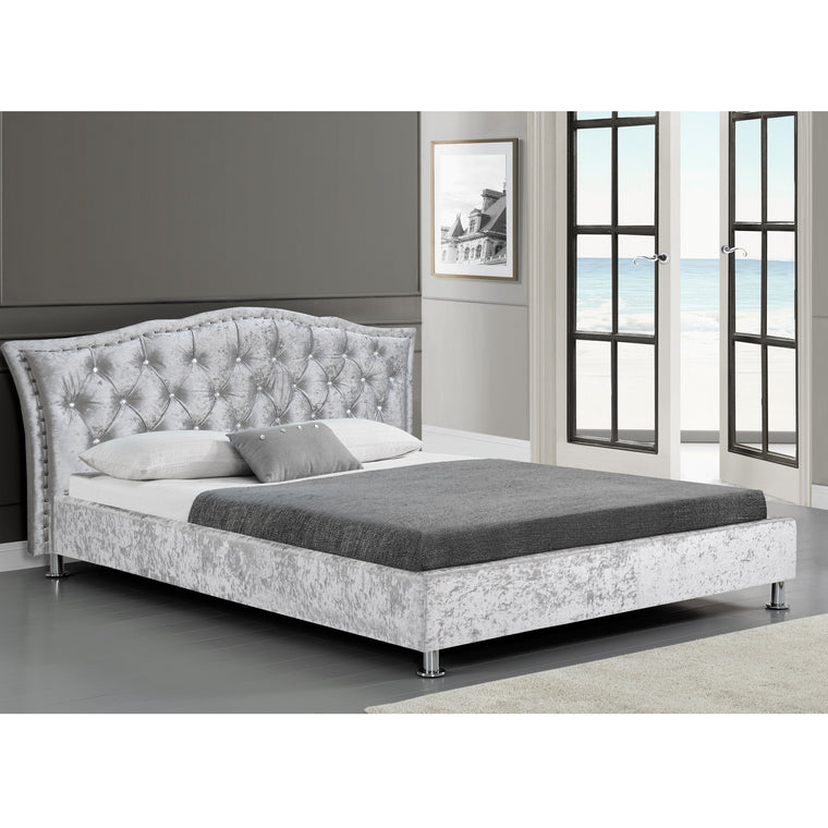 AMARI Silve Crushed Velvet Bed Frame with Tufted Diamante Headboard