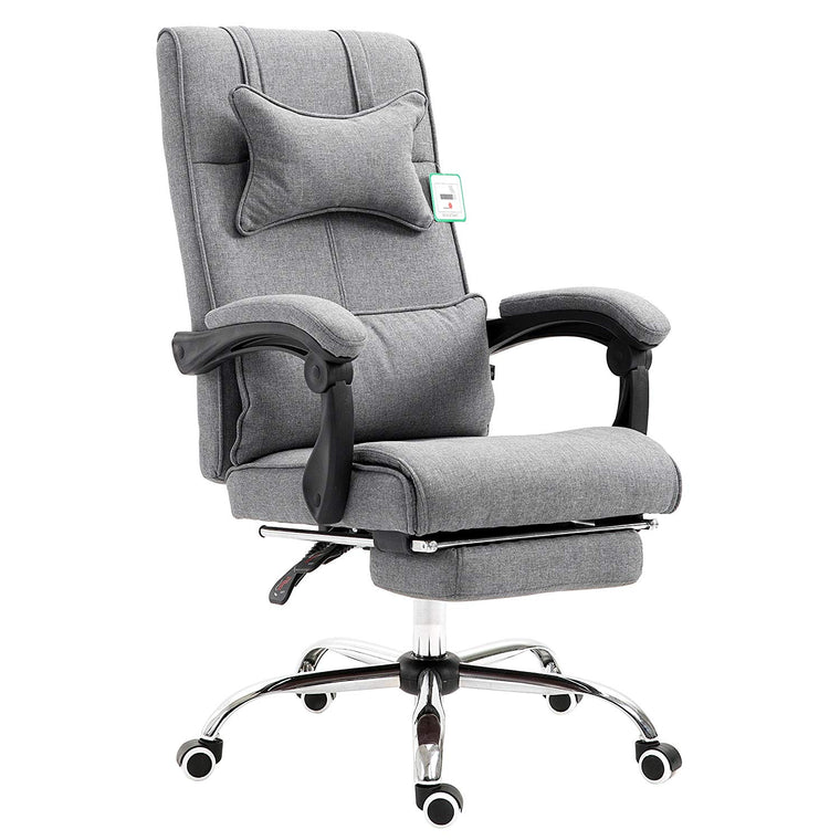 Premium Executive Reclining Desk Chair with Footrest, Headrest and Lumbar Cushion Support (Grey, Fabric)