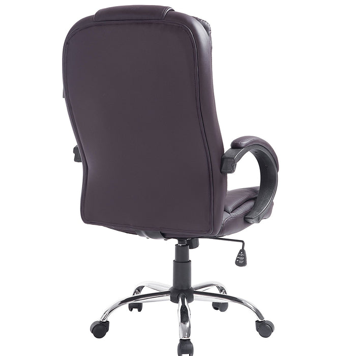 New Modern Design High Back PU Leather Chrome Base Office Chair in Brown