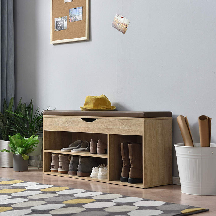 Hallway Shoe Rack Padded Bench Storage 103.5 x 29.5 x 48 cm Oak 2
