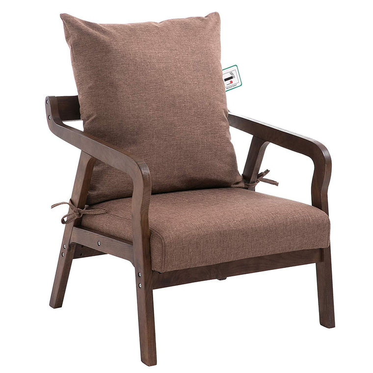 Bentwood Brown Fabric Armchair Accent Chair with Solid Wood Frame