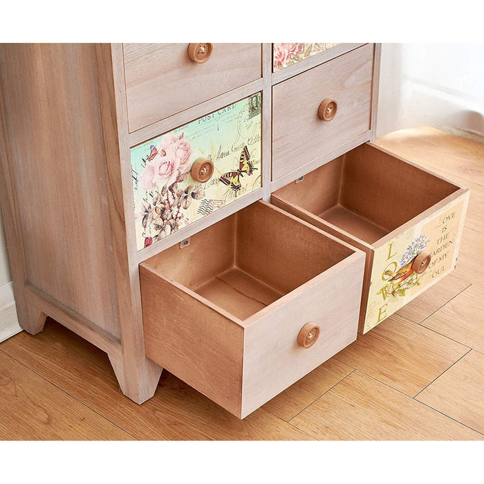 Cherry Tree Furniture NOLA Vintage Country Style Wooden Cabinet Chest Drawers with Floral Drawers and Button Handles 8-Drawer Cabinet