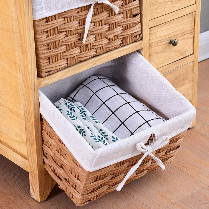 paulownia original wood colour 5 layer cabinet drawer chest with wicker baskets